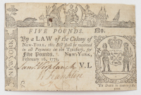 1771 £5 Five Pounds - New York - Colonial Currency Note at PristineAuction.com