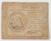 1778 $50 Fifty Dollars - Continental - Colonial Currency Note at PristineAuction.com