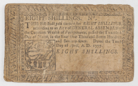 1777 8s. Eight Shillings - Pennsylvania - Colonial Currency Note at PristineAuction.com