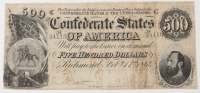 1864 $500 Five-Hundred Dollars Confederate States of America Richmond CSA Bank Note at PristineAuction.com