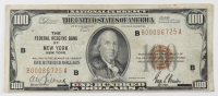 1929 $100 One-Hundred Dollars U.S. National Currency Bank Note with Brown Seal - The Federal Reserve Bank of New York, New York at PristineAuction.com