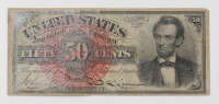 1869-1875 50¢ Fifty-Cents Abraham Lincoln U.S. Fractional Currency Bank Note (Fourth Issue) at PristineAuction.com