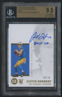 Justin Herbert 2020 Panini Encased Scripted Signatures Gold #SCSJH RC #6/10 (BGS 9.5) (Autograph Grade 10) at PristineAuction.com