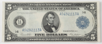 1914 $5 Five-Dollars Blue Seal U.S. Large-Size Federal Reserve Note (AA Block) at PristineAuction.com