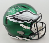 """Carson Wentz Signed Philadelphia Eagles Full-Size Authentic On-Field Chrome Speed Helmet Inscribed """"AO1"""", """"Philly Nation"""" & """"Go Eagles!"""" (Fanatics Hologram) (See Description) at PristineAuction.com"""