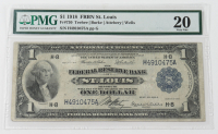 1918 $1 One-Dollar U.S. National Currency Large-Size Bank Note - The Federal Reserve Bank of St. Louis, Missouri (PMG 20) at PristineAuction.com