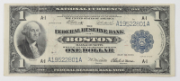 1918 $1 One-Dollar U.S. National Currency Large-Size Bank Note - The Federal Reserve Bank of Boston, Massachusetts at PristineAuction.com