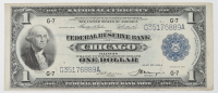 1918 $1 One-Dollar U.S. National Currency Large-Size Bank Note - The Federal Reserve Bank of Chicago, Illinois at PristineAuction.com