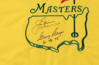 """Jack Nicklaus & Gary Player Signed Masters Tournament Pin Flag Inscribed """"63,65,66,72,75,86"""" & """"61,74,78"""" (JSA LOA) at PristineAuction.com"""