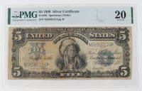 """1899 $5 Five-Dollars """"Indian Chief"""" U.S. Silver Certificate Large-Size Bank Note (PMG 20) at PristineAuction.com"""