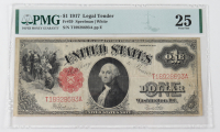 1917 $1 One-Dollar Red Seal U.S. Legal Tender Large-Size Bank Note (PMG 25) at PristineAuction.com