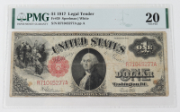 1917 $1 One-Dollar Red Seal U.S. Legal Tender Large-Size Bank Note (PMG 20) at PristineAuction.com