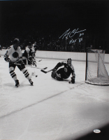 """Gerry Cheevers Signed Bruins 16x20 Photo Inscribed """"HOF 85"""" (JSA COA) at PristineAuction.com"""