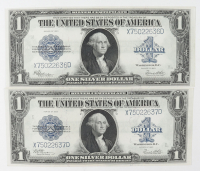 Lot of (2) 1923 $1 One-Dollar Blue Seal U.S. Large-Size Silver Certificate Bank Notes with Consecutive Serial Numbers at PristineAuction.com
