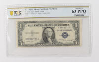 1935-G $1 Blue Seal Silver Certificate Bank Note, No Motto (PCGS 63 PPQ Choice Uncirculated) at PristineAuction.com