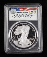 2021-W American Silver Eagle $1 One Dollar Coin, Type 1 - First Day of Issue, Michael Reagan Signed Label (PCGS PR70 Deep Cameo) at PristineAuction.com