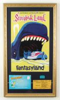 "Disneyland ""Storybook Land"" 15x26 Custom Framed Print Display with 1950's Photo Portfolio, 'D' Storybook Land Ticket, Disneyland Welcome Pin at PristineAuction.com"