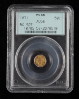 1871 California Fractional Gold Coin (PCGS AU58) OGH at PristineAuction.com