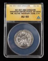 Peroz (AD 457-484) Sasanian Empire AR Drachm Ancient Silver Coin (ANACS AU50) at PristineAuction.com