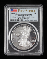 2016-W American Silver Eagle $1 One Dollar Coin - 30th Anniversary, First Strike - Lettered Edge (PCGS PR69 Deep Cameo) at PristineAuction.com