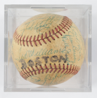 1959 Red Sox Baseball Team-Signed by (30) with Ted Williams, Jackie Jensen, Vic Wertz, Bill Monbouquette, Herb Plews with Display Case (SportsCards LOA) at PristineAuction.com