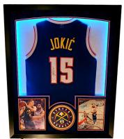 Nikola Jokic Signed Nuggets 32x41 Custom Framed Jersey Display (JSA Hologram) at PristineAuction.com