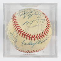1984 Tigers ONL Baseball Team-Signed by (25) with Sparky Anderson, Lance Parrish, Kirk Gibson, Jack Morris with Display Case (SportsCards LOA) at PristineAuction.com