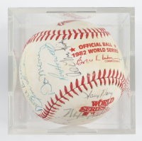 Brewers 1982 World Series Baseball Team-Signed by (26) with Harvey Kuenn, Robin Yount, Paul Molitor, Pat Dobson, Mark Bruhard, Cecil Cooper with Display Case (SportsCards LOA) at PristineAuction.com