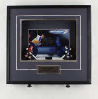 Wayne Gretzky Signed Blues 17.5x18.5x3.5 Custom Framed Shadowbox with (2) Hockey Figures (WG Authentic COA) (See Description) at PristineAuction.com