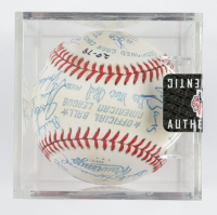 MLB Hall of Famers OAL Baseball Signed by (22) with Red Ruffing, Lloyd Waner, Col Papa Bell, Buck Leonard, Stan Musial with Display Case (SportsCards LOA) at PristineAuction.com