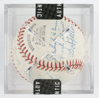 MLB Hall of Famers OL Baseball Signed by (15) with Burleigh Grimes, Earl Averill, Bob Feller, Stan Musial, Joe Cronin, Ted Williams with Display Case (SportsCards LOA) at PristineAuction.com