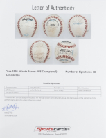 1995 Braves ONL Baseball Team-Signed by (18) with Chipper Jones, Greg Maddux, Tom Glavine, David Justice, Jeff Blauser with Display Case (SportsCards LOA) at PristineAuction.com
