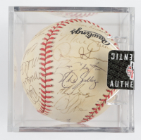 1996 Cardinals ONL Baseball Team-Signed by (26) with Tony La Russa, Ozzie Smith, Royce Clayton, Willie McGee, Dave McKay with Display Case (SportsCards LOA) at PristineAuction.com