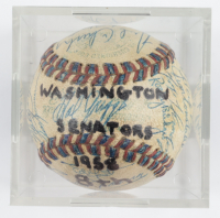 1958 Senators Baseball Team-Signed by (30) with Cookie Lavagetto, Ed Yost, Pedro Ramos, Tex Clevenger, Camilo Pascual, Vito Valentinetti with Display Case (SportsCards LOA) at PristineAuction.com
