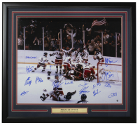 """1980 """"Miracle on Ice"""" Team USA 20x24 Custom Framed Photo Display Team-Signed by (15) with Mike Eruzione, Jim Craig, Bill Baker, Dave Christain Inscribed """"1980 Gold!"""" (Stiener Hologram) at PristineAuction.com"""