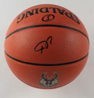 Giannis Antetokounmpo Signed Bucks Logo NBA Game Ball Series Basketball (Schwartz COA) at PristineAuction.com