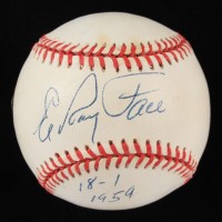 "Roy Face Signed ONL Baseball Inscribed ""18-1 1959"" (JSA COA) at PristineAuction.com"