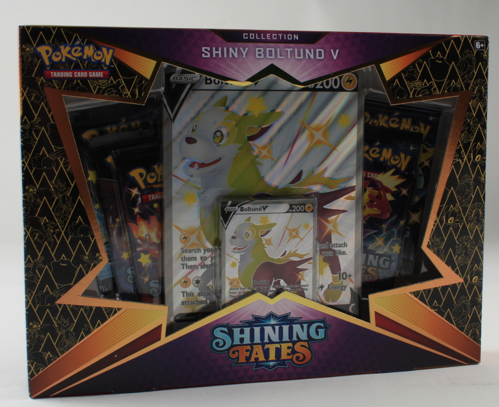 Pokemon TCG: Shining Fates Shiny Boltund V Box with (5) Booster Packs at PristineAuction.com