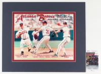 Tom Glavine, Greg Maddux, & John Smoltz Signed Braves 16x19 Custom Matted Print Display (JSA COA) at PristineAuction.com