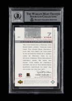 """Michael Vick Signed 2001 SP Game Used Edition Authentic Fabric #MV Inscribed """"2001 #1 Pick"""" (BGS Encapsulated) at PristineAuction.com"""