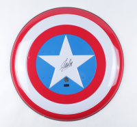 "Stan Lee Signed ""Captain America"" Marvel Authentic Full-Size 23.5"" Metal Shield (Stan Lee Hologram & Radtke COA) (See Description) at PristineAuction.com"