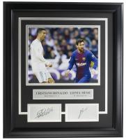 Cristiano Ronaldo & Lionel Messi 16.5x18.5 Custom Framed Photo Display at PristineAuction.com