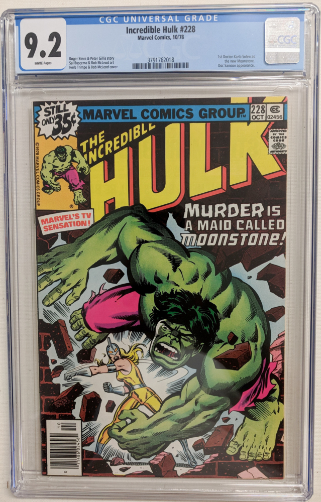 """1978 """"The Incredible Hulk"""" Issue #228 Marvel Comic Book (CGC 9.2) at PristineAuction.com"""