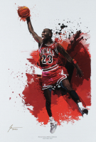 """Jason Oakes - """"Michael Jordan"""" Signed Bulls Athletic Collection 13"""" x 19"""" Lithograph (PA COA) at PristineAuction.com"""