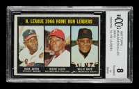 Hank Aaron / Richie Allen / Willie Mays 1967 Topps #244 NL Home Run Leaders (BCCG 8) at PristineAuction.com