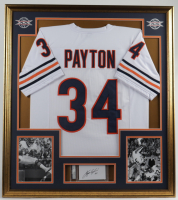 Walter Payton Signed 32x36 Custom Framed Cut Display With (2) Walter Payton Photos (PSA Encapsulated) at PristineAuction.com