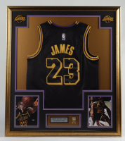 LeBron James 33x37 Custom Framed Jersey With Lakers NBA Finals Pin at PristineAuction.com