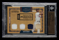 Hank Aaron 2008 Prime Cuts Timeline Materials Quad #4 2009 NSCC Special Edition #1/1 (BGS Encapsulated) at PristineAuction.com