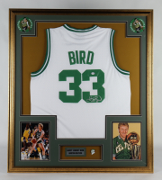 Larry Bird Signed 32.5x37 Custom Framed Jersey Display with 1986 Celtics NBA Champions Pin (PSA COA) at PristineAuction.com
