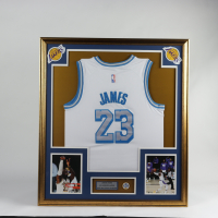 LeBron James 33x37 Custom Framed Jersey With Lakers 60 Year Anniversary Pin (See Description) at PristineAuction.com